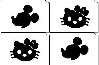 03. Mickey-Hello Kitty mini sablon   Új!